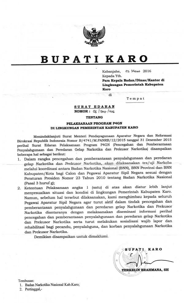 Website Kabupaten Karo Surat Edaran Tentang Pelaksanaan
